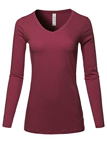 A2Y Basic Solid Soft Cotton Long Sleeve V-Neck Top T-Shirt Cabernet Size L