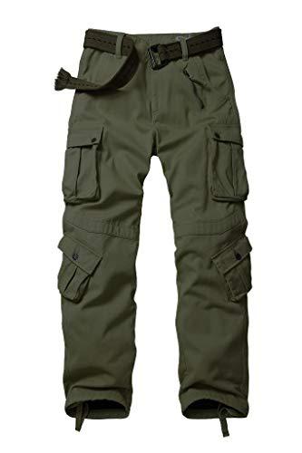 TRGPSG Pantalones de carga salvaje de algodón para hombre, militares, camuflaje militar al aire libre, pantalones de combate de trabajo casual con 8 bolsillos Verde militar (forro polar). 32