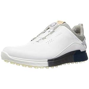 ECCO Men's S-Three BOA Gore-TEX Waterproof Hybrid Golf Shoe, White/Seaport, 10-10.5