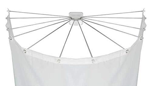 WENKO Duschschirm mit 12 Armen - Duschspinne, Duschvorhanghalter, Kunststoff (ABS), 96 x 10.5 x 72 cm, Weiß