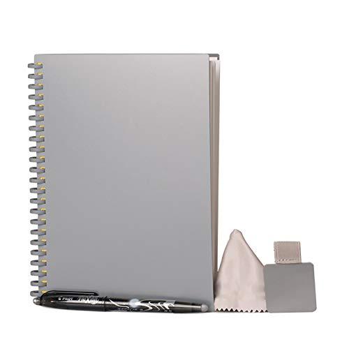 Libreta reutilizable inteligente, funda de diario reutilizable, cuaderno con forro ecológico con 1 bolígrafo Pilot Frixion y 1 paño de microfibra incluido. Uso con aplicación