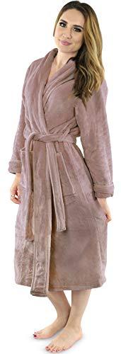 NY Threads Women's Fleece Bathrobe - Shawl Collar Soft Plush Spa Robe (Medium, Taupe)