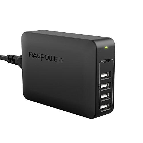 RAVPower Caricabatterie USB C, Caricatore da Muro USB 5 Porte 60 W, Stazione di Ricarica Desktop con 1 Porta PD Tipo-C Fino a 45 W per MacBook 4 Porte iSmart 2.0 per iPhone X 8 Plus