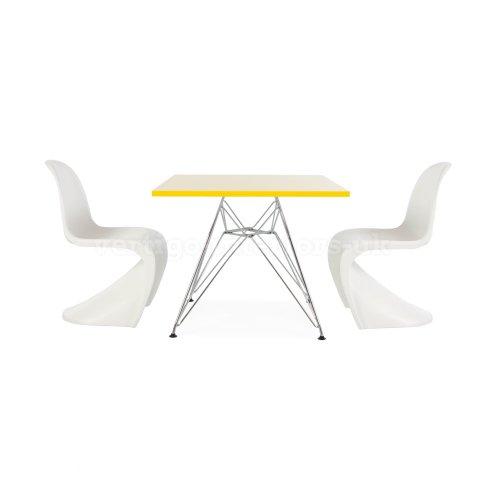Eames Enfants carré Jaune Table et 4 chaises Enfants Panton Style (Autres Couleurs Disponibles) Jaune, Vert, Orange, Rose, Rouge, Bleu, Noir dans Les Deux Demandes de Messagerie de chaises et Tables.