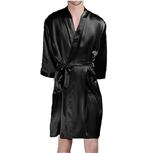 Runfon Bata Hombre Seda Artificial Albornoces Verano de Manga Larga Homewear Negro M