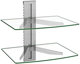 WALI CS202S Floating Wall Mounted Transparent Strengthened Tempered Glasses for DVD Players,Cable Boxes, Games Consoles, TV Accessories 2 Shelf, Silver