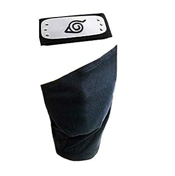 Leaf Village Logo Metal Plated Headband/Forehead Protector and Face Mask for Ninja Cosplay Accessories Black  Naruto Headband+ Mask