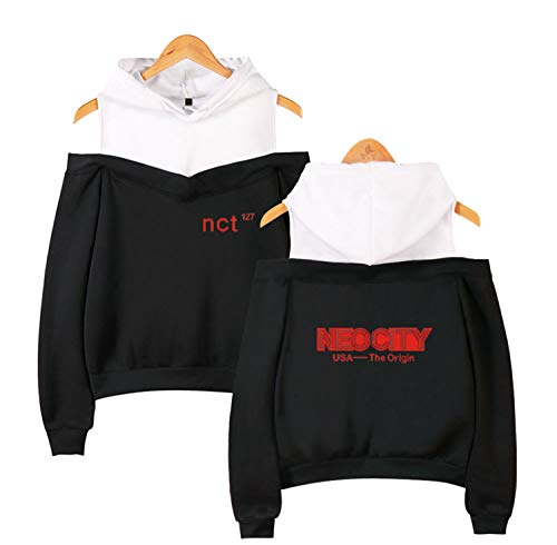 Xkpopfans Kpop NCT Hoodie Pullover DoYoung Mark Taeyong Off The Shoulder Sweater Jacket S Black