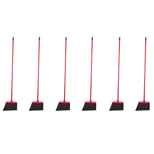 AmazonCommercial Angle Broom with Vinyl-Coated Metal Handle - 6-Pack