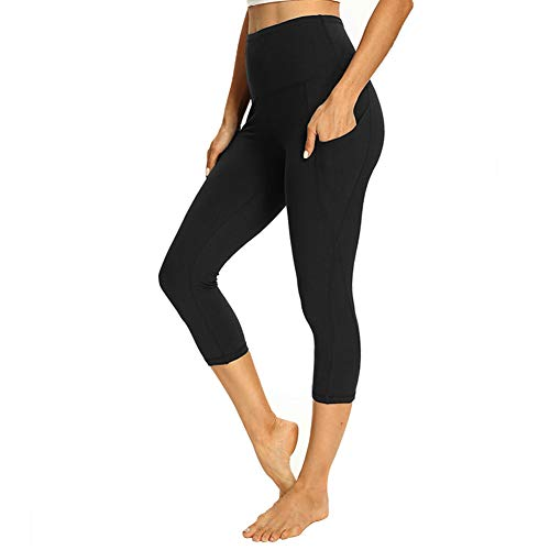 GAYHAY Women's Capri Yoga Pants with Pockets - High Waist Soft Tummy Control Strechy Leggings for Workout Running (Black, Medium)