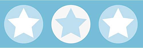 lovely label Bordüre selbstklebend Sterne GRAU/BLAU - Wandbordüre Kinderzimmer/Babyzimmer mit Sternen - Wandtattoo Schlafzimmer Mädchen und Junge – Wanddeko Baby/Kinder