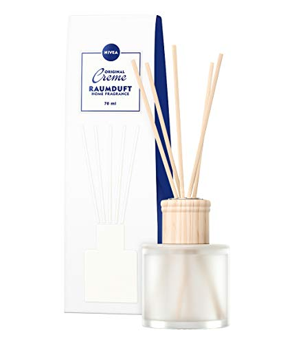 NIVEA Home Raumduft im edlen milchig-weißen Flakon mit dem unvergleichlichen Duft der NIVEA Creme - inklusive 8 Stäbchen - langanhaltend, frisch, intensiv, spritzig, 1 x 70 ml