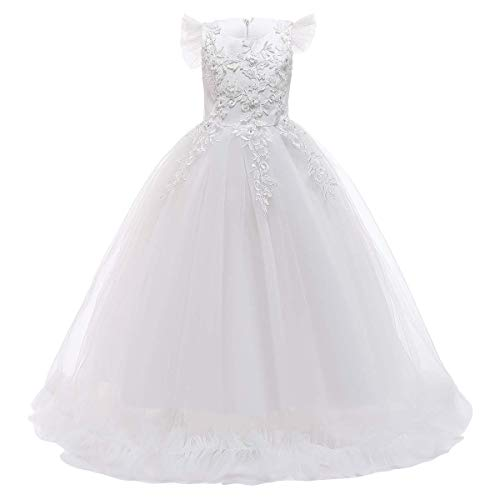 Flower Girls Lace Bridesmaid Dress Long A-line Wedding Pageant Long Dresses Little Princess Formal First Communion Birthday Party Floor Length Maxi Dress Kids Prom Puffy Tulle Ball Gowns White 11-12Y