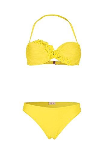 Heine Bandeau-Bikini mit Blüten gelb Größe 38 B-Cup