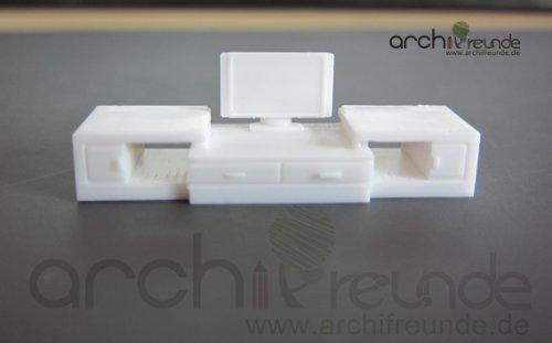 1 Modell Möbel TV Set weiß für Modellbau 1:50, Modelleisenbahn Spur 0
