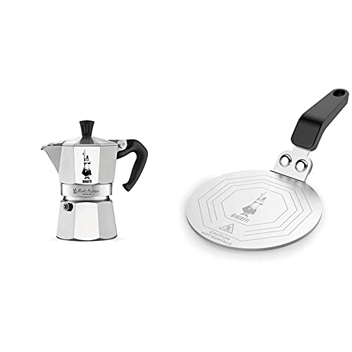 Bialetti Moka Express Cafetera Italiana Espresso, 1 Tazas, Aluminio + DCDESIGN08 Difusores de calor, adaptador para el utilizo de cafeteras y baterías de cocina sobre placas de inducción, Metal