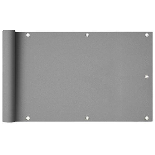 UISEBRT 600x90 cm PVC Balkonbespannung Sichtschutz - Balkonverkleidung Balkonstoff für den Gartenzaun oder Balkon - Windschutz Sonnenschutz Wasserdicht (600x90 cm, Grau)