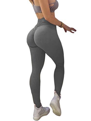 Onsoyours Damen Sport Leggings Lange Blickdicht Kompressions Yoga Fitnesshose Sporthose mit Hohe Taille für Workout Gym Jogging Grau Small