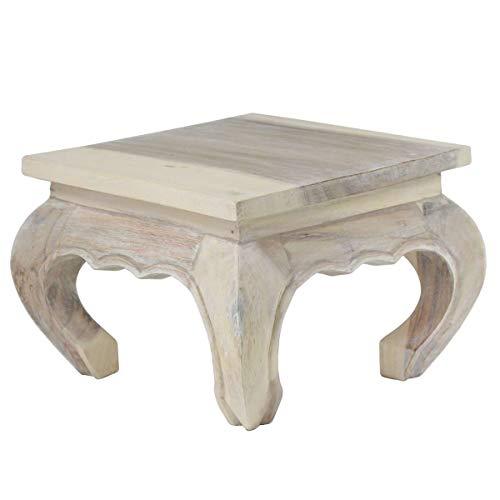 Oriental Galerie Opiumtisch Natur Whitewash - 40cm Beistelltisch Tischchen Hocker Blumenhocker Akazienholz asiatischer Kleiner Tisch