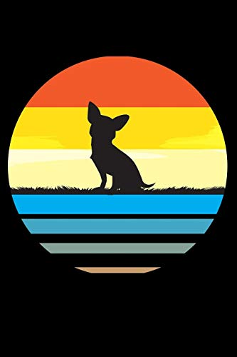 Journal: Chihuahua Dog Breed Silhouette Retro Vintage 70s Toy Dogs Black Lined...