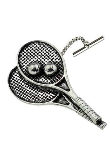 S9 Raquetas de tenis Tack Tie Pin con cadena de peltre inglés hecho a mano en sheffield