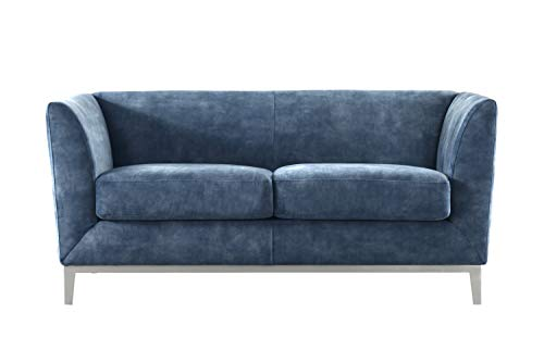 Acanva Collection Modern Velvet Living Room Sofa with Metal Legs, 65' W Loveseat, Navy Blue