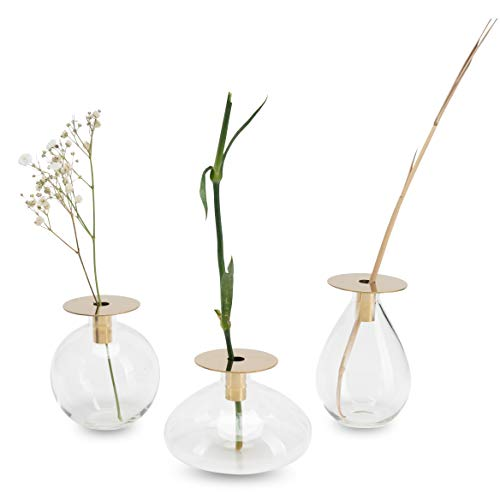 Luuk LIFESTYE Filigrane Glas Vase Deko Set, Kugel Design, Glas Vase klein, rund, Glaskugelvase, Deko Vase, Vase modern, Vase Set, Vintage Stil, skandinavischens Design, Rundglas, Gold Messing