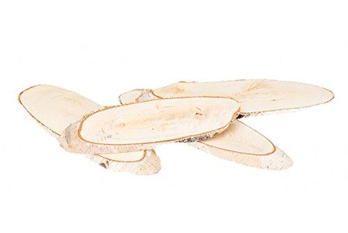 NaDeco Birkenscheiben oval 25-30cm 4 Stück ovale Baumscheiben Große Birkenscheiben Birkenstamm Scheiben Birkenholz Deko Holzscheiben zur Dekoration