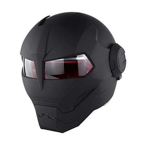 MENUDOWN Motorrad Helme,Motorrad Integralhelm Iron Man Full Face Touring Motorrad Harley Vintage Helm Flip Up Ironman Schädel Persönlichkeit Cooler Roboter DOT Zustimmung,Matte Black-M(57~58cm)