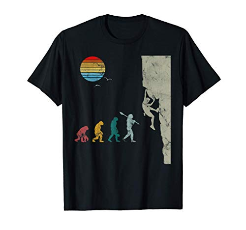 Bouldern Evolution BergsteigenKlettern Vintage Retro T-Shirt