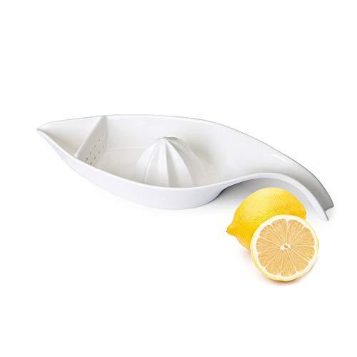 SWEEJAR Ceramic Citrus Juicer Stoneware Lemon Squeezer with Boat Shape Manual Fruit Reamer White