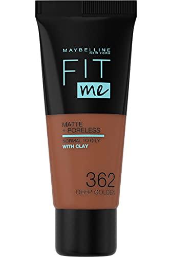Maybelline New York, Base de Maquillaje que Calca a tu Tono Fit me! Mate y Afinaporos, Color: 362 Deep Golden