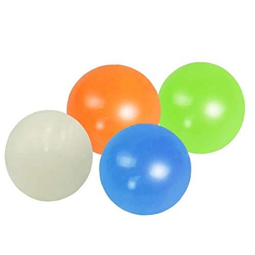 Catch 4pcs Pegajosa Bolas De Pared Fluorescentes Bolas De Descompresión Pelota De Squash Bola De Succión De Descompresión Juguete Bola Pegajosa De Destino Lanzar La Bola Para Niños Juguetes Pa