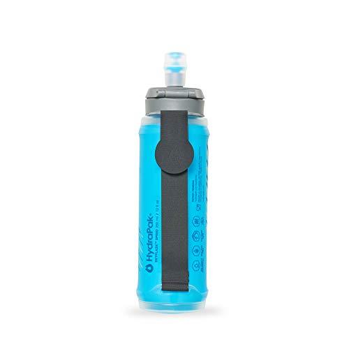 Hydrapak SkyFlask Speed - Lightweight Collapsible Handheld Running Water Bottle Soft Flask - Adjustable Handstrap, Spill-Proof Cap, Malibu Blue