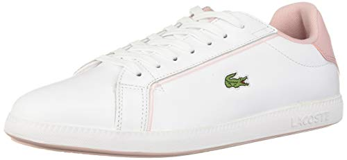 Lacoste Women's Graduate Sneaker, White/Light Pink, 6.5 Medium US