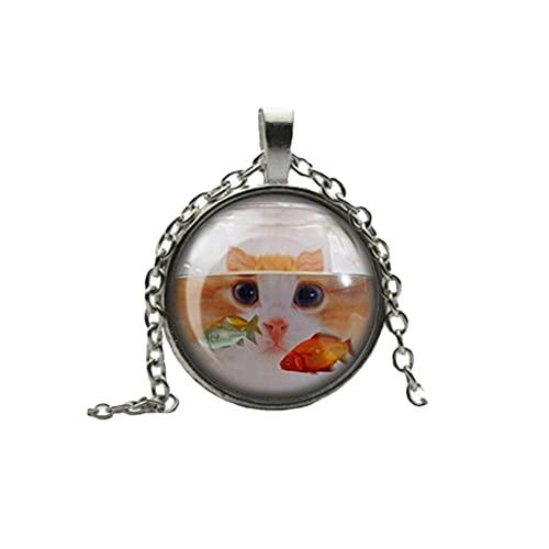 Collar con colgante de gato detrás de los peces de colores de cristal cameo cabujón, collar de azulejos - Quirky - Humor