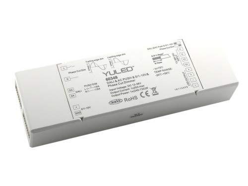 YULED SR-2303P (4in1) DALI LED Controller 1-Kanal 20A 12-36V DC Steuerbar mit Dali-Bus AC Push 0/1-10V oder Triac Dimmer für LED Streifen