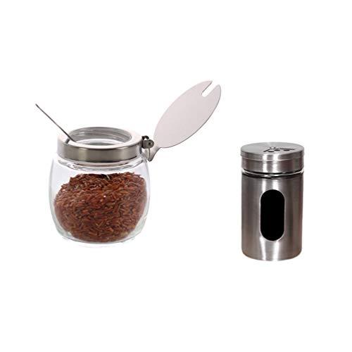 UPKOCH 2 Pezzi 210 ml condimento barattoli di spezie 90 ml in Acciaio Inox condimenti barattoli di spezie Bottiglia contenitori di spezie pentole con Coperchio Cucchiaio