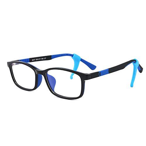 WEIDD Gafas De Filtro De Luz Azul, Gafas De Pantalla, Ojos De Juego Gafas De Luz Azul Para NiñOs CóModas Gafas De Silicona Anticolores De Dos Colores Reloj Gafas De TeléFono MóVil-C7_ Luz Azul