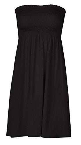 mix_lot Neue Frauen-Scher Boobtube Bandeau-trägerlose/ärmelloses Top Klar Damen sexy Sommer-Strand-Kleid Oben klein mittel Plus Size Freizeitkleidung Größe 36-50 (XXL 48-50, Black)