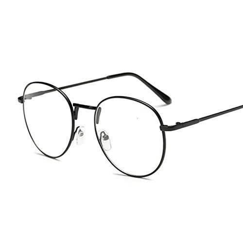 NJJX Montura De Gafas De Moda Vintage Redondas Para Mujer, Anteojos Ópticos De Metal, Lentes Transparentes Transparentes, Gafas Nerd Geek, Círculo, Espectáculo, Negro