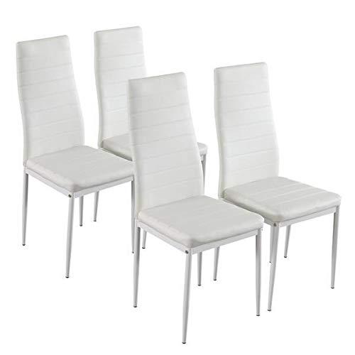 Yi-xir klassisk design 4PCs raffinerad monterad strippning konsistens högskola ryggstöd matsal stolar vit Perfekt och bekvämt