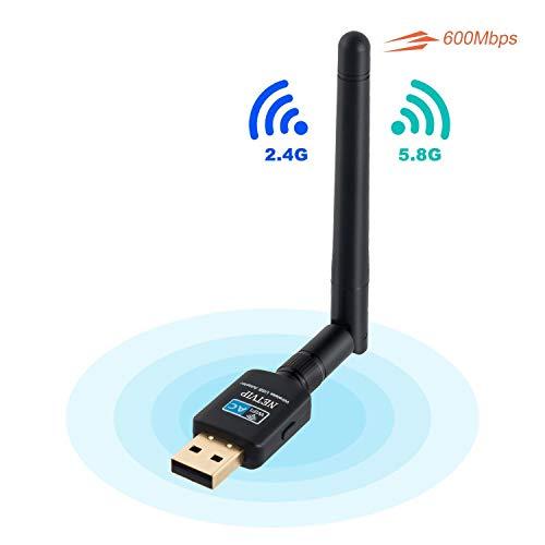 NETVIP WLAN Stick, Compact WiFi USB Adapter 600Mbit/s Dualband 5GHz/ 2,4GHz Wireless WLAN Extern Antenne 11AC Kebellos Netz Signal Laufwek für PC Geräte Kompatibel mit Windows 10/ Vista/Mac OS