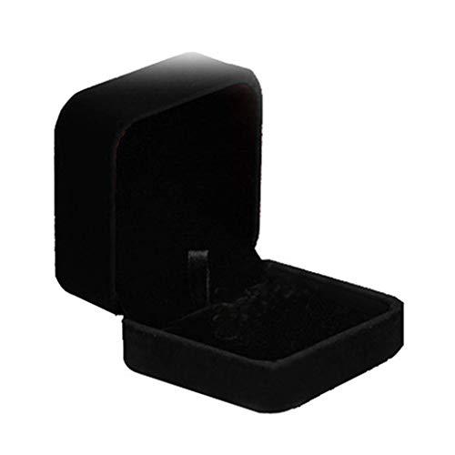 Collectsound Samt Ring Uhr Halskette Armband Armreif Anhänger Schmucketui Geschenkbox Schwarz, Earring Box, Einheitsgröße