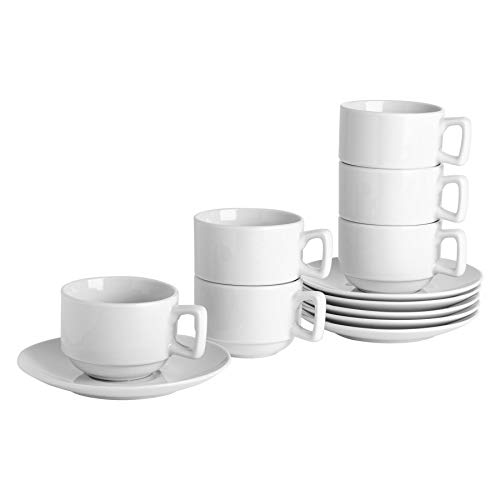 Argon Tableware White Stacking Cup/Saucer Set - 200ml (7oz) - 12 Cups & 12 Saucers