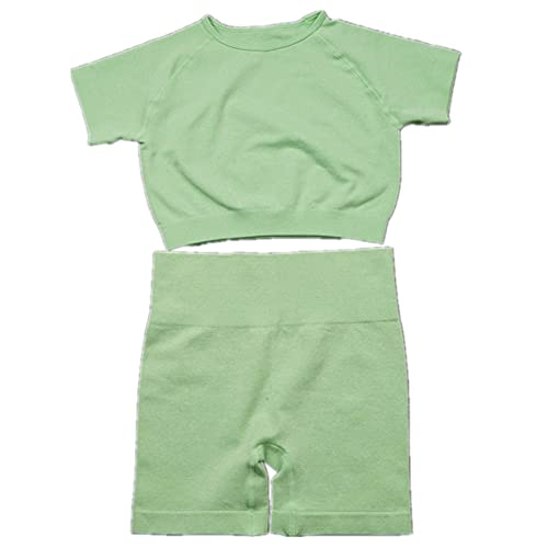 N\P Ropa de verano de yoga traje sin costuras de punto Fitness Deportes de manga corta Pantalones cortos de entrenamiento desgaste