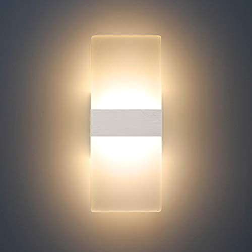 Lámpara de pared Interior 12W Moderna Apliques de Pared Blanco Cálido,2700K Moda Agradable Luz de Ambiente perfecto para Lámpara de Decoración