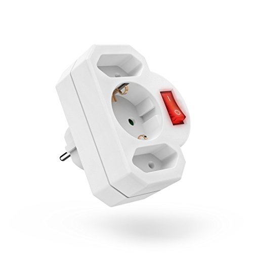 Hama 3 fach Steckdosenadapter mit Schalter zum Stromsparen Multistecker 2 Eurosteckdose 1 Schutzkontakt Mehrfachsteckdose Adapterstecker Doppelstecker weiß