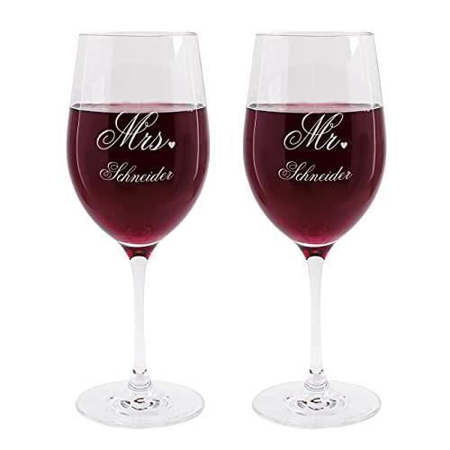 Leonardo Weinglas Set zur Hochzeit - Mr. & Mrs. - mit Gratis Gravur des Familiennamens