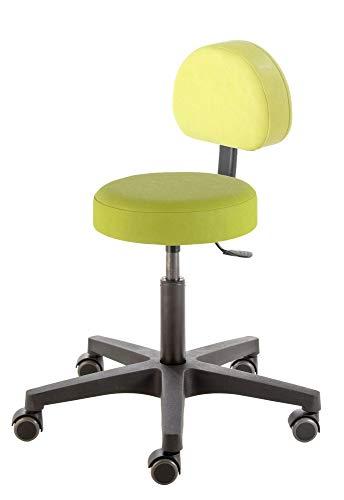 Prova Nova GmbH Roll- und Drehhocker Comfort Swing 4410, Sitzhöhe ca. 46-59 cm, Rundsitz mit Rückenteil, Rollen/Bodengleiter:weiche Radbandage, Polsterdekor:Dekor Limone